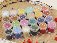 24 Colors 3D Candy Nail Glitter Fashion Nail Decoration Fuzzy Flocking Manicure Velvet Powder Nylon Powder For Nail Art Tips(China)