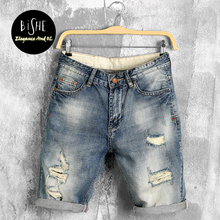 Boys Loose Fit Thigh Shorts Jeans 2017 Summer Newly Designed Large Size Male Five Pants Hole Denim Trousers(China)