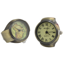 1PC Vintage Punk Style Creative Round Alloy Quartz Watch Finger Ring for Womwn/ Men(China)