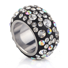 Fashion Crystal Rings Stainless Steel Made with Genuine Austrian Crystals Full Sizes Wholesale