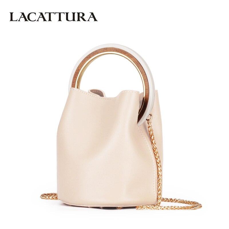 LACATTURA Luxury Handbag Designer Wristlets Women Leather Shoulder Bucket Bag Fashion Messenger Bags Lady Small Tote Cross body<br>