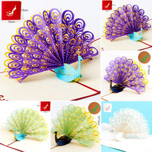 Christmas Gift Sale Universal 2017 Card Stock 3D Pop Up Peacock Cards Wedding Lover Happy Birthday Anniversary Greeting Cards#25(China)