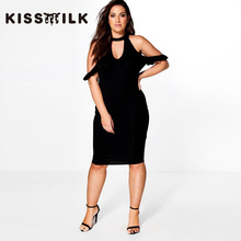 kiss milk plus size 2017 western style fashion slim sexy hollow out off the shoulder 3XL-7XL black woman's Casual sheath dress