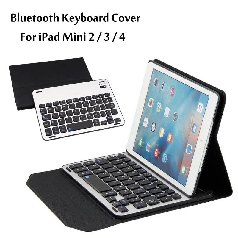 For iPad Mini 2 Mini 3 Mini 4 High-Quality Ultra thin aluminum alloy Wireless Bluetooth Keyboard Case Cover For Mini2/3/4 + Gift<br>