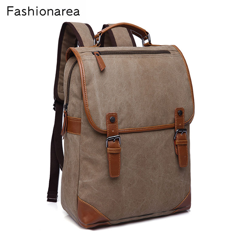 Preppy Male Canvas Bags High Quality Leather Handle School Backpack for Teenagers Boys Girls Travel Rucksack Bookbags<br>
