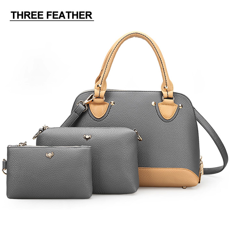 THREE FEATHER Brand Women Bag Handbags women Shoulder bags OL Style Shell bag High quality stitching lady bags Suit combination<br>