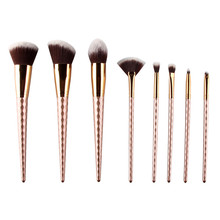 Rose Gold 8 PCS Unicorn Makeup Brusher  Set Fan Brush Eyebrow Eyeshadow Powder brush Foundation Brusher Portable brushes