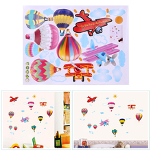 Removable PVC Balloons Wall Sticker Cartoon Wallpaper Kids Child Room Decor Clouds Airplane Balloons Bedroom Wall Sticker