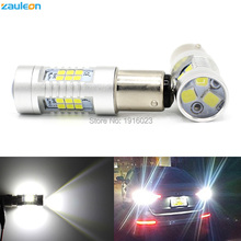 2pcs S25 1156 1157 PY21W P21/5W High Power 21SMD 2835 Yellow/Red/White LED DRL Reverse Light Projector Len T20 T25 car light