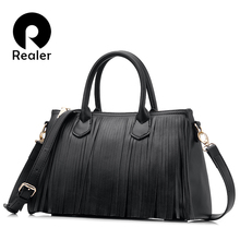 REALER 2017 new brand design women tote with tassel black/gray/white women handbag high quality bag pu leather