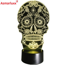 Luminarias Night Light 3D LED Lamp Skull 3D Lights Children's nightlight Visual Led Night Light Illusion Mood Lamp 7 Colors Lamp(China)