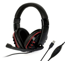 Headset PS3 PC Laptop USB Stereo Live Headphone Microphone Black Gaming Headset (Color Black) [FH] FC(China)