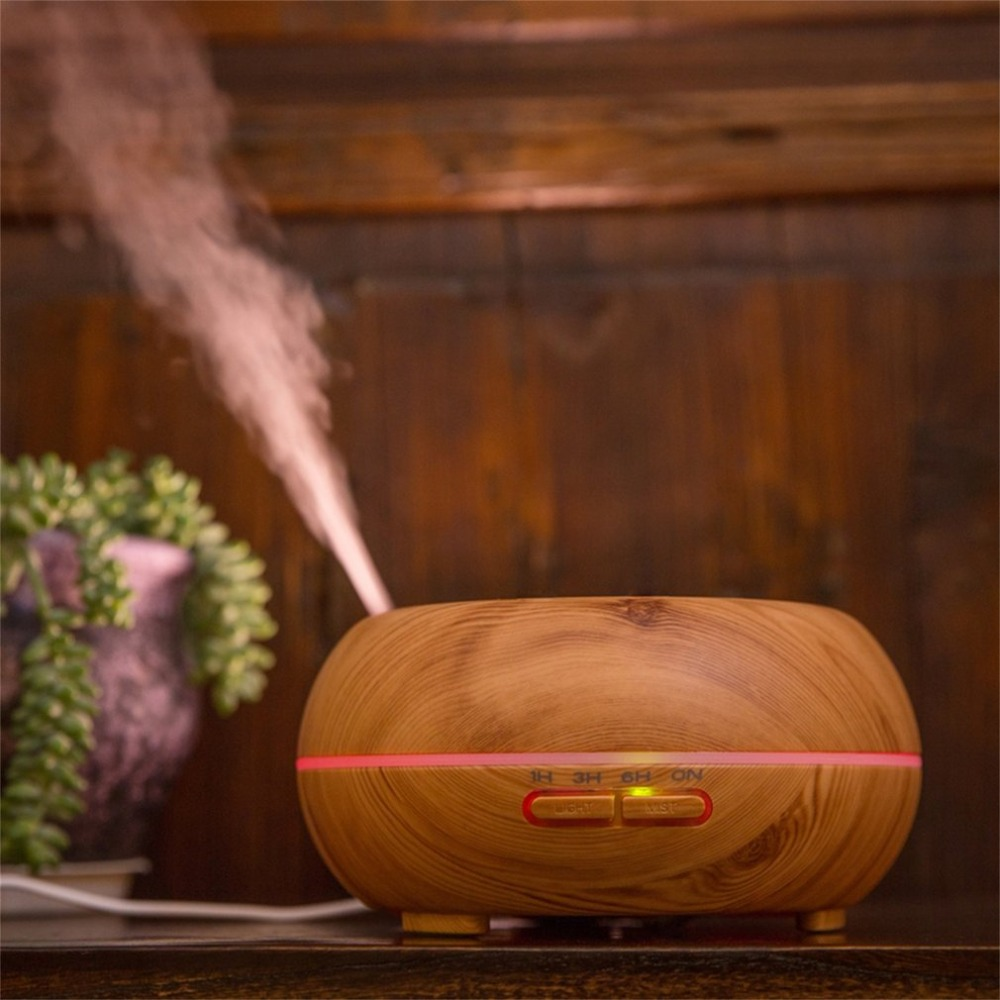 200ML Air Humidifier Wood Grain Aromatherapy Essential Oils Diffuser 7 LED colors Air Purifier Aromatherapy Machine<br>