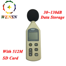 Digital Sound Level Meter 30-130dB LCD Noise Measuring Instrument Decibel Monitoring Logger Tester With 512M SD card Free Ship