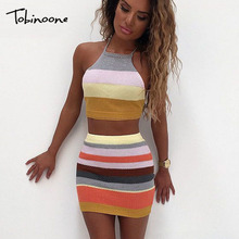 Buy Tobinoone summer sexy backless dress women vintage casual sleeveless knitted party dresses halter crop top elegant vestidos