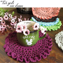 Vintage DIY Handmade Crochet Coaster Doily Flower Tray Pad Decoration Cushion Cover European Round Table Cup Mats 20-30CM 6PCS/L(China)