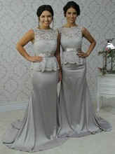 Silver Gray Long Bridesmaid Dresses 2017 Mermaid Lace Top Stretch Satin Women Elegant Formal Wedding Party Gowns Country Rustic