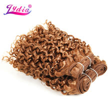 "Lydia For Women Synthetic Curly Hair Extensions New Water Wave 10"" 3PCS/Lot Pure Color 30# Hair Weaving Kanekalon Hair Bundles"