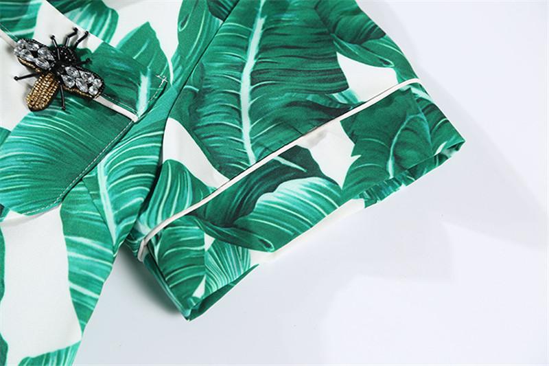 Brand Fashion Two Piece Set Women Runway Suit Fashion Green Leaf Print Dragonfly Beading Shirt + Elastic Waist Pants Sets 16