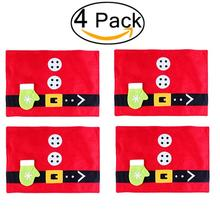 4pcs Christmas Table Mats Placemats Napkins Cloth Decor Cover for Kitchen Holiday Party Home