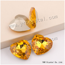 YANRUO 4827 Heart 28mm 8pcs light Topaz Ponitback Strass Stones Glass Crystal Craft Clothes Wedding Dresses