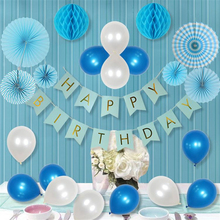 22pcs Craft Honey Comb Blue Series Paper Folding Fan Paper Flower Balls Pearl Latex Balloon Church Christening Baby Shower Decor(China)