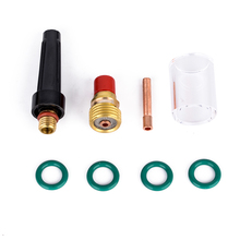 "8pcs 2.4mm Collets Body Gas Lens + #10 Pyrex Glass Cup + Collet with O-rings Kit For WP-9/20/25 3/32"" Series Tig Welding Torch(China)"