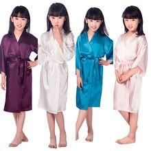 Kids Flower Girl Wedding Stain robes NightGown Monogrammed Silk children s  bathrobe Bridesmaid party Brides robes Kimono 07cc033ad