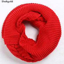 Winter New Simple Fashion College casual Solid Men Women Knitted Wool Collar Scarf Lovers Girls Boy Warm Rings Scarf Duftgold(China)