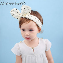 Naturalwell Gorgeous Wrap headwrap Fabric polka dot head wrap Mouse ears headbands Newborn headband turban top knot HB107