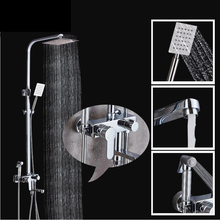 "Luxury Polished Chrome Surface Mount Shower Faucet One Handle 8"" Rainfall Shower Mixer Taps with Sprayer"