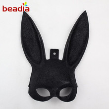 Easter Make-up Ball Rabbit Ear Mask Cosplay Costume Bunny Long Ears Party Mask White and Black Color to Halloween Masquerade(China)