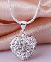 Free shipping! High Quality 16 inch  white black mix Fashion Silver Plated Crystal Heart Shamballa Necklace Pendant