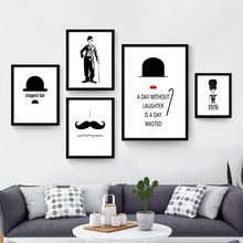 Canvas Chaplin Hap Mustache Mural Painting No Frame Nordic Picture Decorative Wall Poster Living Room Study Art Drawing Ornament