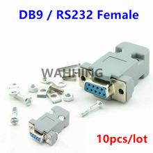 10Set RS232 serial port connector DB9 female socket Plug connector 9 Pin copper RS232 COM adapter with Plastic Case DIY HY577*10(Hong Kong)