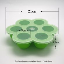 1p  7 Hole Silicone Baby Food Storage Container with Lid  Crisper Ice Lattice Box Cover Plate Freezer Fresh Keeper Preservation