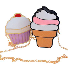 2017 Cute Ice Cream Cupcake Women Bag PU Leather Small Chain Clutch Girl Messenger Crossbody Shoulder Bags Female Purse Handbags(China)