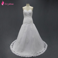 Fancy New Style Dropped Waist Sweetheart White Tulle with Appliques White Bride Elegant Women Court Train Cheap Wedding Dresses