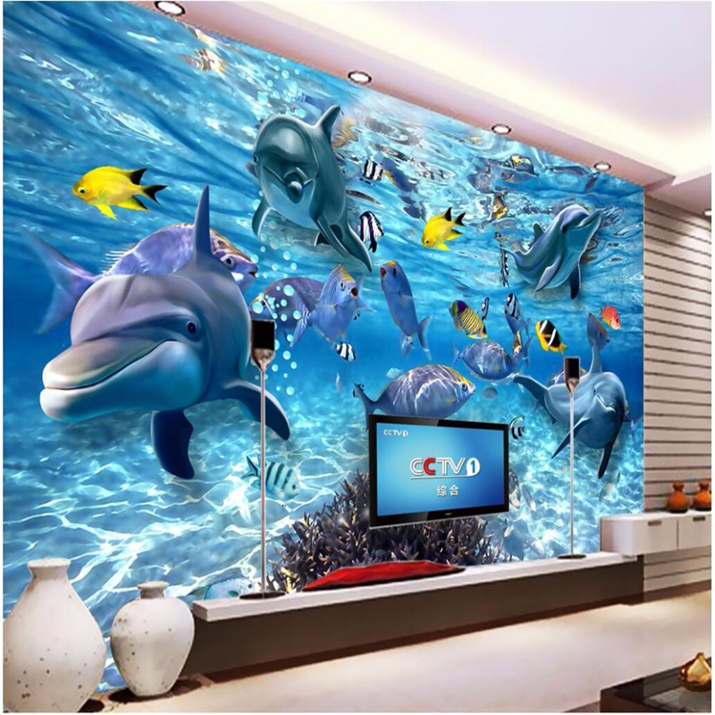 Custom photo wallpaper 3d stereo underwater world fish life children room TV background 3d living room wall painting wall paper<br><br>Aliexpress