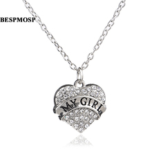 Bespmosp 24PCS/Lot Wholesale Trendy Clear Sparkling My Girl Crystal Rhinestone Heart Pendant Charm Necklace Family Women Jewelry(China)