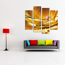 Printing on canvas Golden Buddha Hands Hold Flower Wall Art Decoration art oil painting 4pcs Modular pictures sitting room(China)