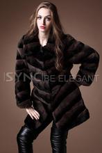 Fashion new Ladies' fur coat,Rex rabbit goatswool slanting stripe fur coat,Chinchilla style rabbit coat fur outerwear FS01A