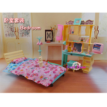 3D DIY Model Kit Super Fashion Bedroom with Computer&Pet Furniture for Dolls House Accessories Educational Toys for Girl