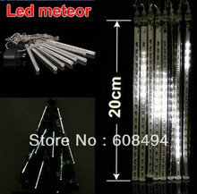 20cm LED Meteor Shower Rain Tube Snowfall Light Outdoor Lighting Garden Tree Decor Wedding Christmas 8 Poles/string 80leds-white
