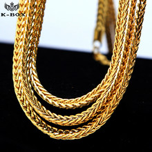 "Men's 4mm Solid Franco Chain 24K Golden  Hip-Hop Box Link Curb Necklace Chain 24""  30""  36"""