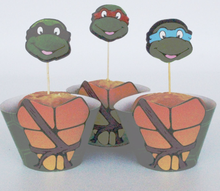 24Pcs One Piece/Naruto/Teenage Mutant Ninja Turtles Cupcake Wrapper Birthday Party Deco Favors With Cupcake Topper Insert Card