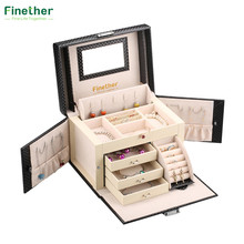 Finether Diamond Pattern Leather Necklace Jewelry Box Lockable Makeup Storage Case Organizer with Lift-Up Lid Mirror and Drawers