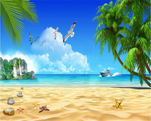 beibehang 3D Fashion senior wallpaper beach coconut trees blue sky white clouds island background wall wallpaper for walls 3 d(China)