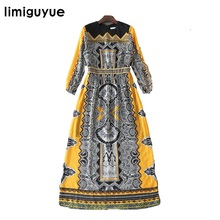 Women High Quality Designer Runway Dress 2017 Vintage Print Long Sleeve Boho People Mexican Dresses Female Hippie Chic Y1247