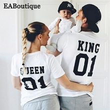 EABoutique New Fashion Letter King Queen Princess Princess NUMBER 01 family matching clothes matching mother daughter father son